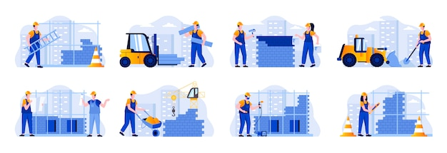 Construction site scenes bundle with people characters. welder, painter, metalworker and bricklayer in hardhat at work situations. professional engineering and building flat illustration Premium Vector