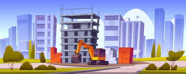 Construction site, unfinished house and excavator Free Vector