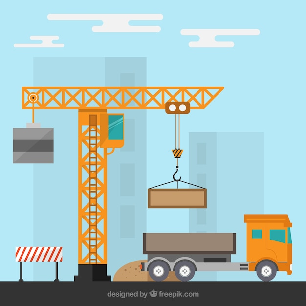 Construction site with a crane and a truck Vector | Free ...