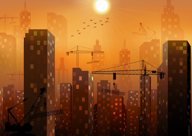 Construction site with buildings and cranes Premium Vector