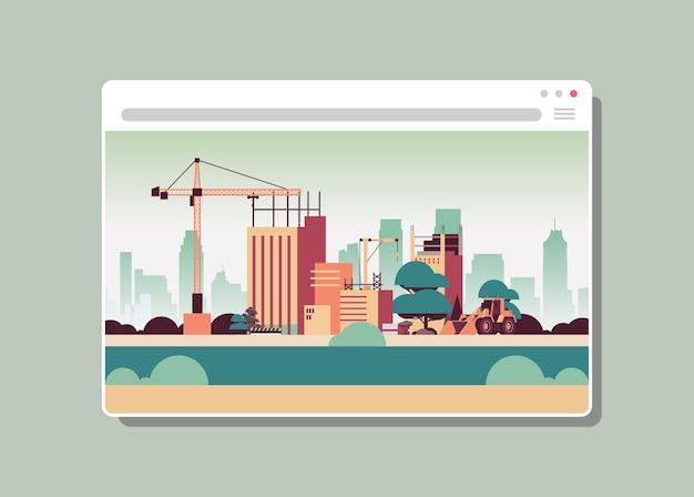 Webブラウザーウィンドウデジタル建物のクレーンで建設現場 Premiumベクター