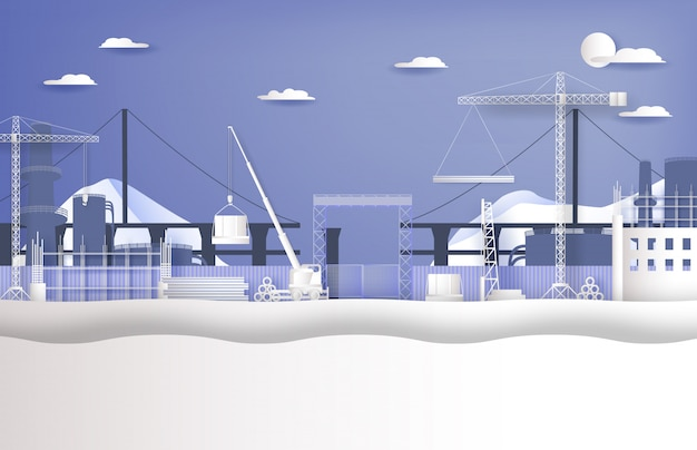 Under construction site with heavy machine work process, paper cut style Premium Vector