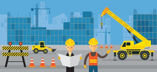 Construction site, worker with engineer, background Premium Vector