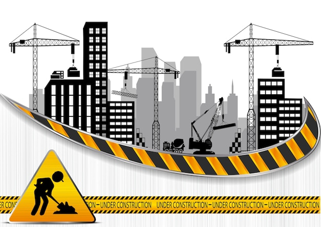 Construction sites with buildings and cranes Premium Vector
