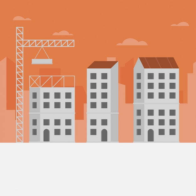 Construction skyline background Premium Vector