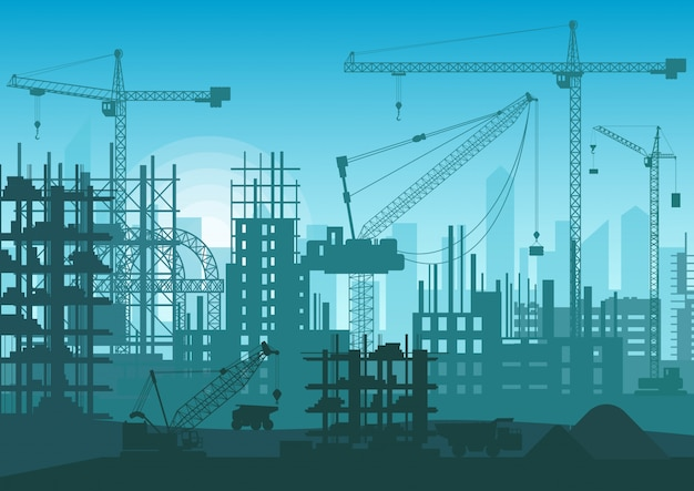 Construction skyline under construction. web site head of new city exterior. Premium Vector