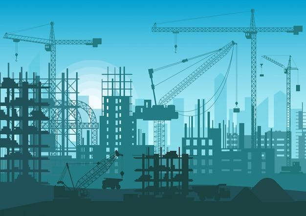 建設中のスカイライン。 webサイトの新しい都市の外観の頭。 Premiumベクター