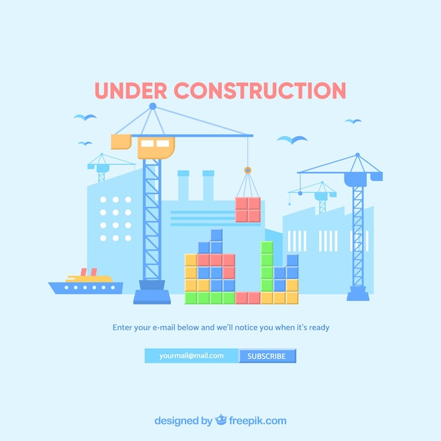Under construction template in flat style Free Vector