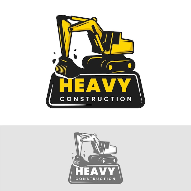 Construction template for logo with excavator Premium Vector
