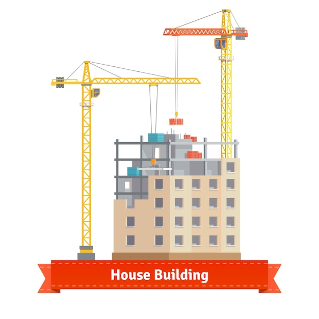 Construction of tenement house with tower cranes Free Vector