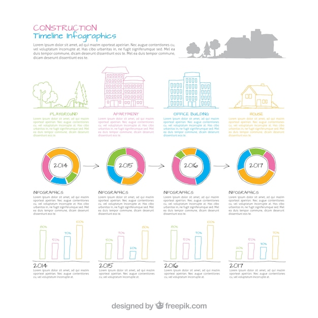 Construction Timeline Infographic Vector  Free Download