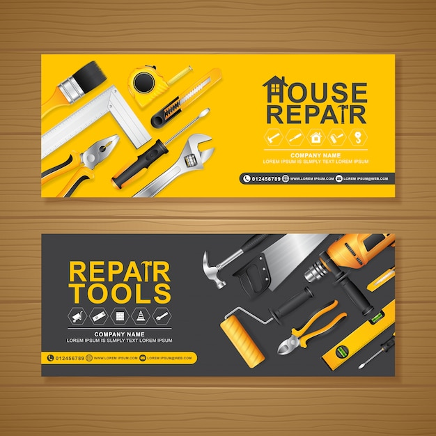 premium vector | construction tools banner design template  freepik