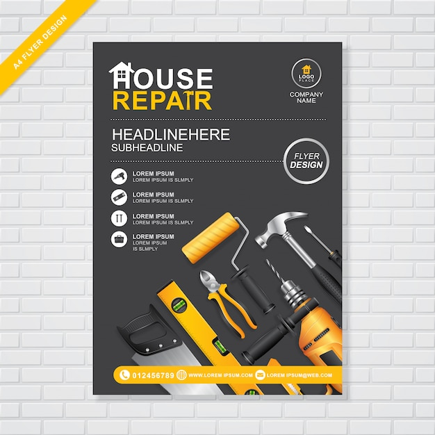 Construction tools cover a4 design template Premium Vector