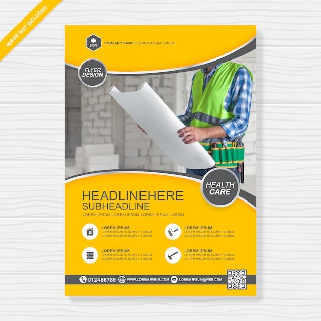 Construction tools cover a4 design template Premium Vector