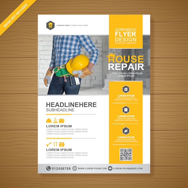 Construction tools cover a4 flyer design template Premium Vector