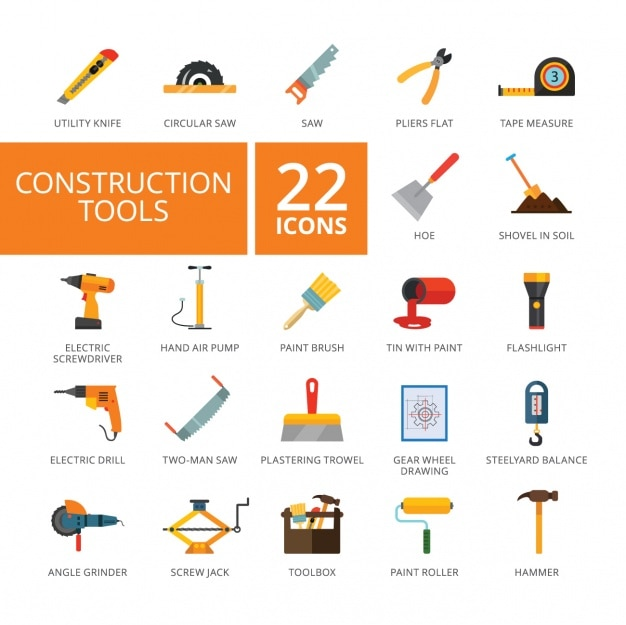 Construction tools icons collection vector free download for Gardening tools list pdf