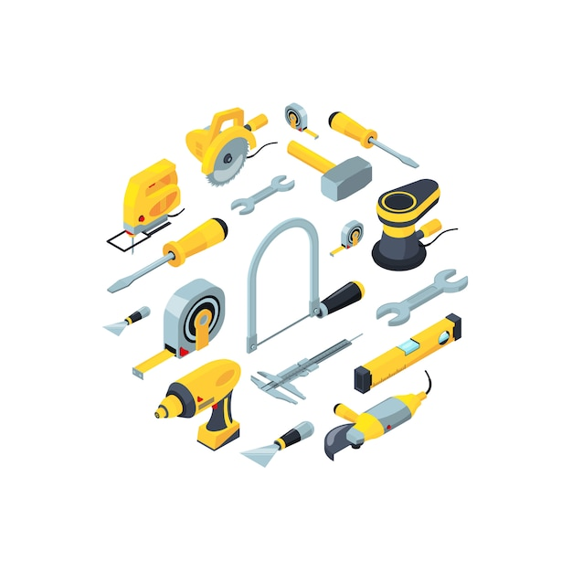 Construction tools isometric icons in circle shape Premium Vector