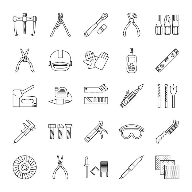 Construction tools linear icons set Premium Vector