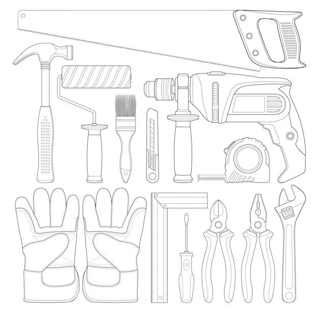 Construction tools linear set all of tools supplies Premium Vector