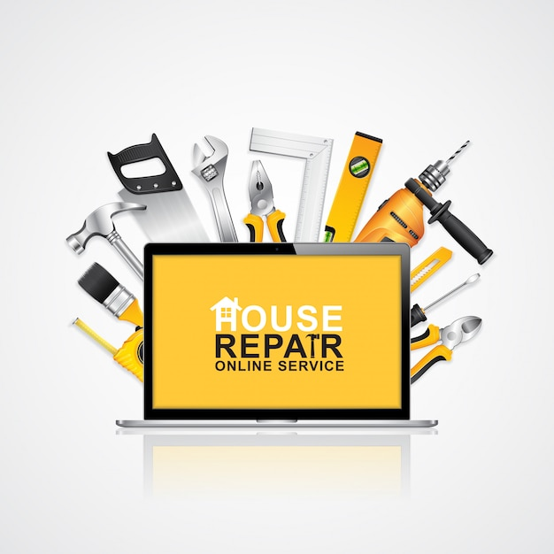 Construction tools online service notebook with tools Premium Vector