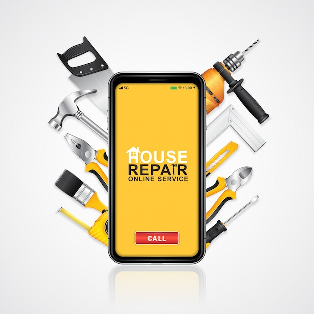 Construction tools online service phone with tools supplies Premium Vector