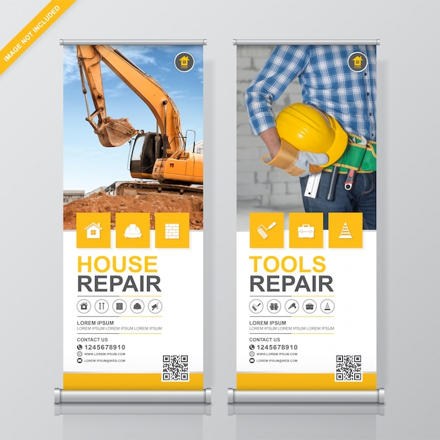 Construction tools roll up and standee banner design template Premium Vector