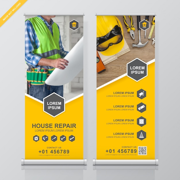 Construction tools roll up and standee banner design Premium Vector