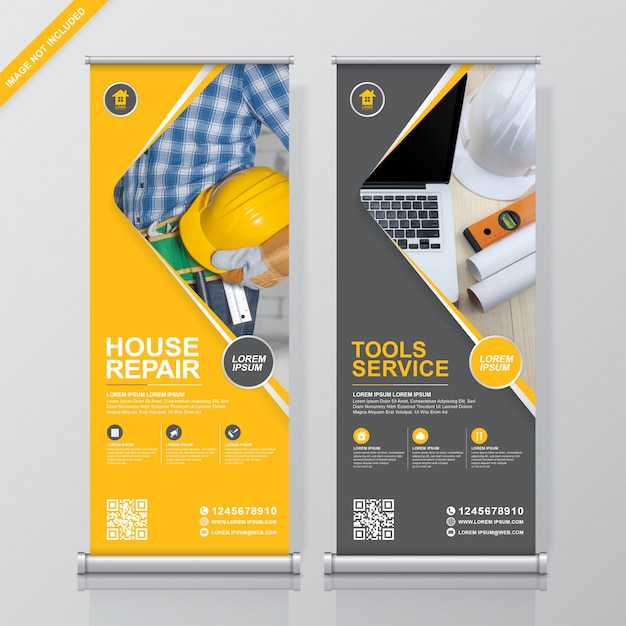 Construction tools roll up and standee  banner template Premium Vector