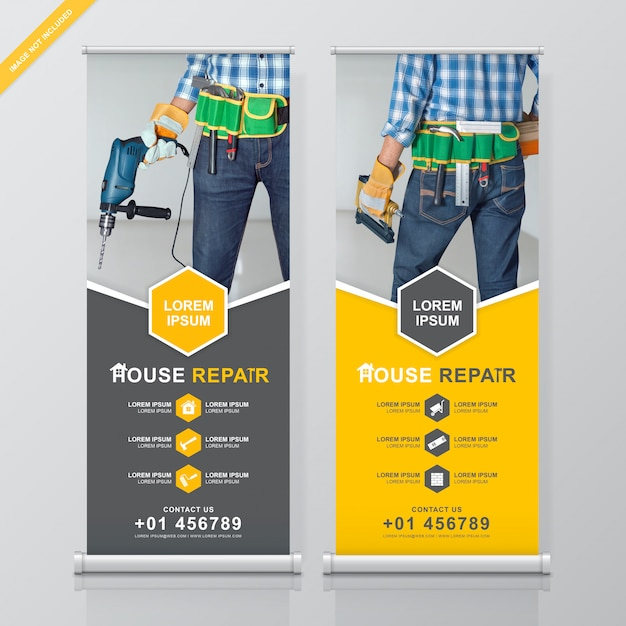 Construction tools roll up and standee design template Premium Vector