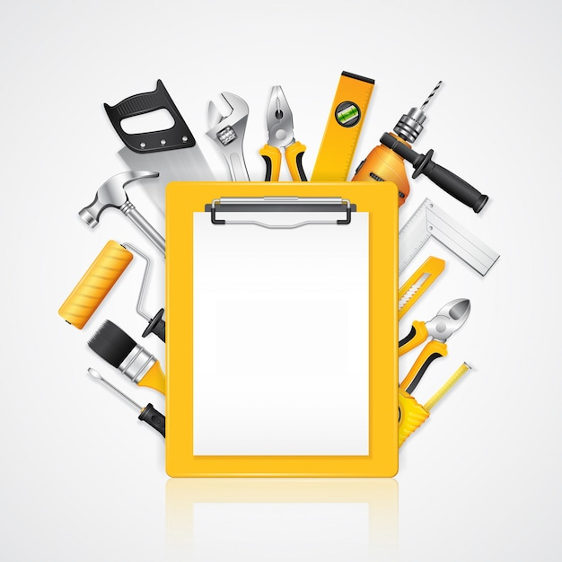 Construction tools service clipboard with tools supplies Premium Vector