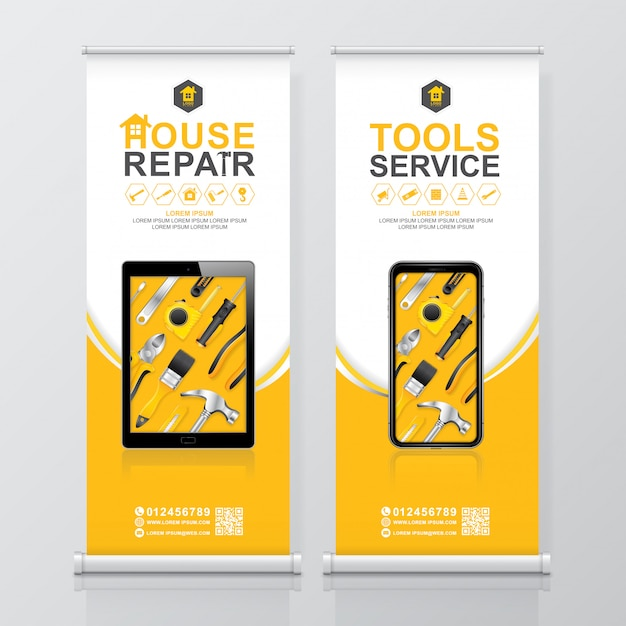 Construction tools service roll up design, banner standee template Premium Vector