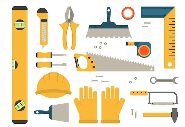 Строительные инструменты набор цветных значков. Premium векторы