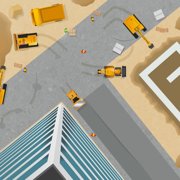 Construction top view poster Free Vector