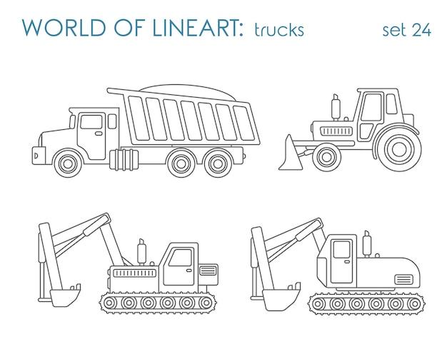 Trasporto di costruzione al set lineart. livellatrice del trattore dell'escavatore del ribaltatore. collezione d'arte di linea. Vettore gratuito