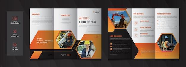 Construction tri fold brochure template design Premium Vector