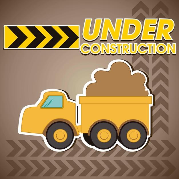 Construction truck transporting sand Premium Vector