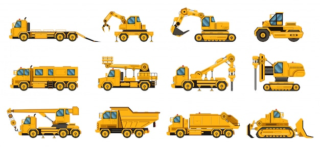 建設用トラック。機器建設用トラック、掘削クレーントラック、トラクター、ブルドーザー、大型エンジンイラストセット Premiumベクター
