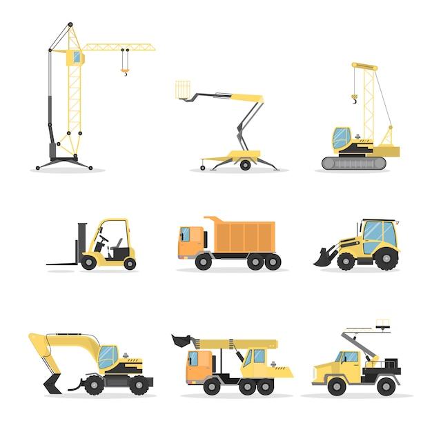 建設用トラックセット。ブルドーザーとクレーン、ミキサー、白のショベル。 Premiumベクター