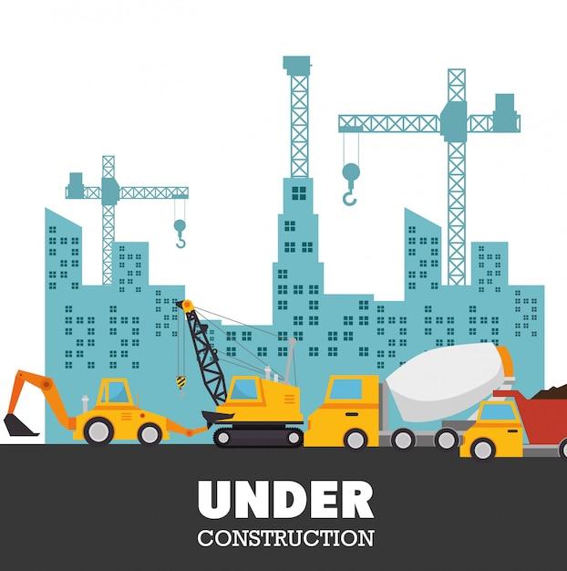 Under construction trucks urban background Free Vector