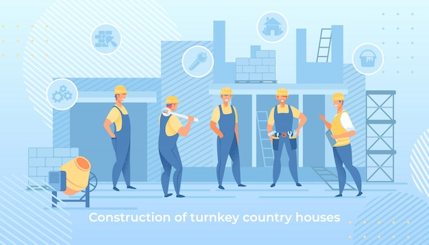 Construction of turnkey country houses service Premium Vector