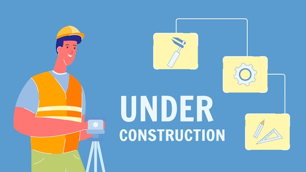 Under construction vector web banner with text Premium Vector