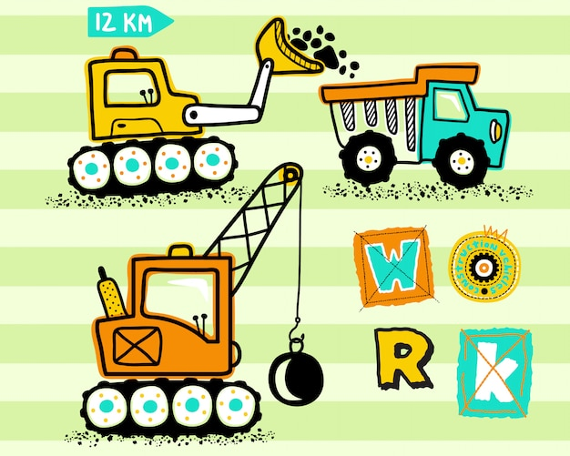 Construction vehicles cartoon Premium Vector