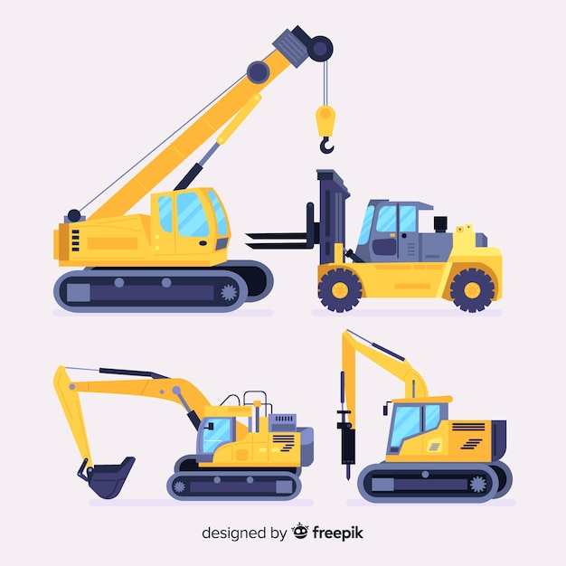 Construction vehicles collection Free Vector