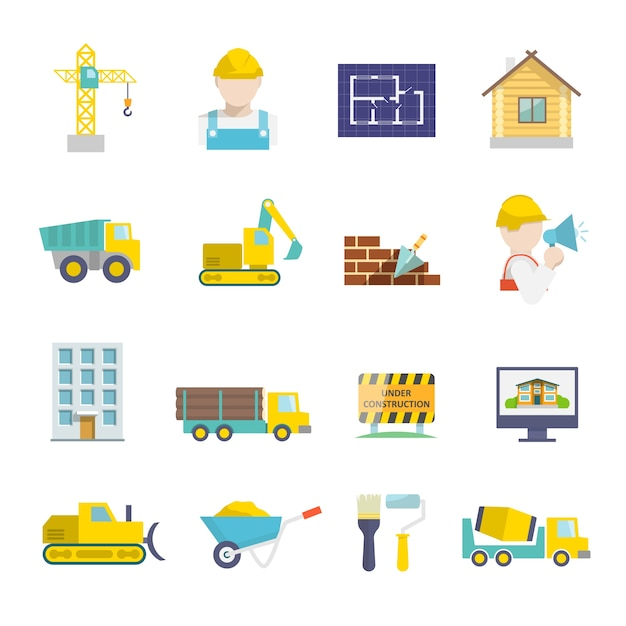 Construction vehicles facilities and building tools icons set isolated vector illustration Free Vector