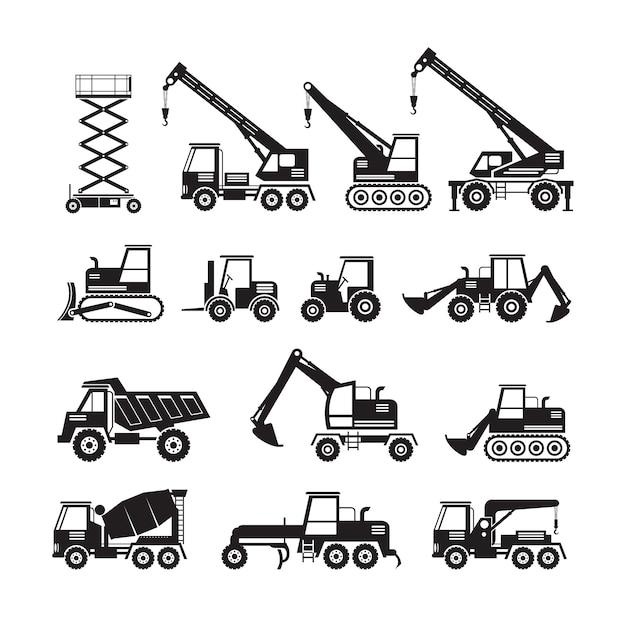 Construction vehicles objects silhouette set, side view Premium Vector
