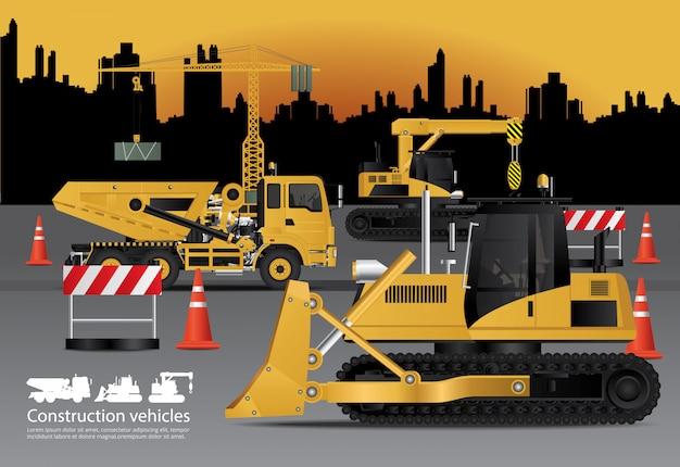 Construction vehicles set Premium Vector