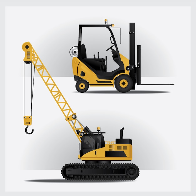 Construction vehicles on site vector illustration Premium Vector
