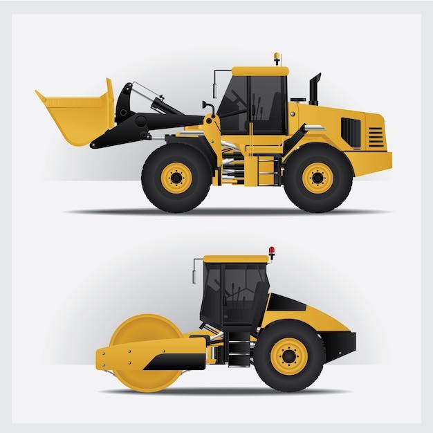 Construction vehicles vector illustration Premium Vector