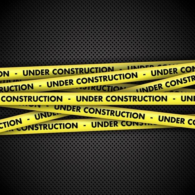 Under Construction Warning Tape Metal Background Vector