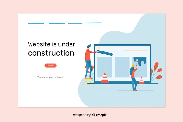 Under construction web landing page Free Vector